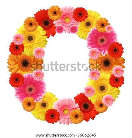 O, flower alphabet isolated on white - stock photo