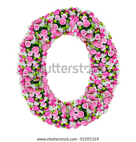 O, flower alphabet isolated on white with clipping path - stock photo