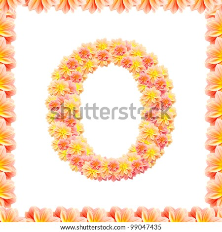 O,flower alphabet isolated on white with flame - stock photo
