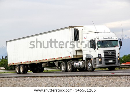 O'HIGGINS, CHILE - NOVEMBER 19, 2015: Semi-trailer truck Volkswagen Constellation at the Pan-American Highway. - stock photo