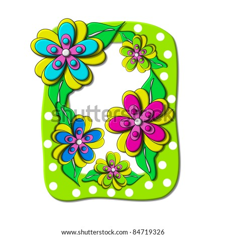 """O, in the alphabet set """"Bright Floral"""", is decorated with three layer modernistic flowers in bright fun colors.  Letters are brilliant green. - stock photo"""