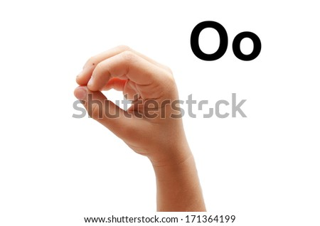 O kid hand spelling american sign language ASL - stock photo