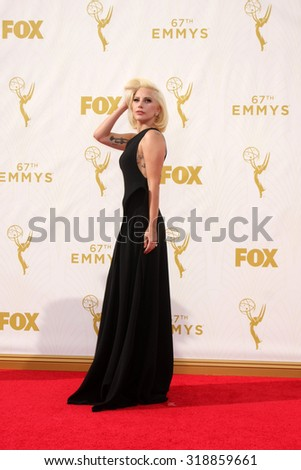 o909LOS ANGELES - SEP 20:  Lady Gaga at the Primetime Emmy Awards Arrivals at the Microsoft Theater on September 20, 2015 in Los Angeles, CA - stock photo