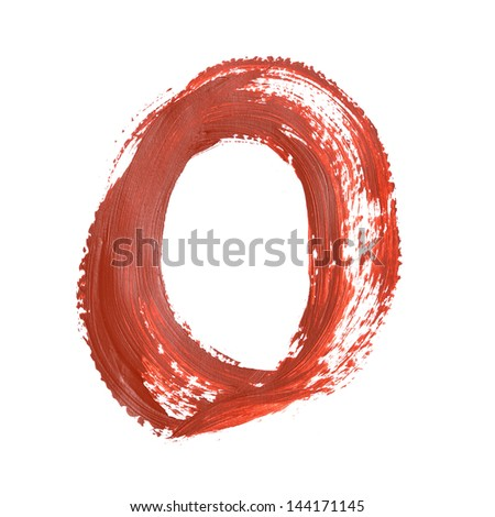 O - Red letters over white background