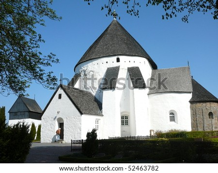 O?sterlars Kirke (Round Church), the Oldest of the Four Round Churches on Bornholm Island - stock photo