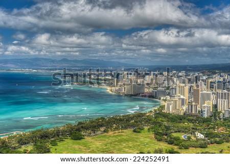 OAHU, HAWAII - OCTOBER 13, 2012: Honolulu and Mamala Bay taken from top of Diamond Head State Monument, Hawaii. - stock photo