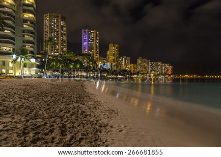Oahu Island Hawaii skyline at Waikiki after the sun has set. - stock photo