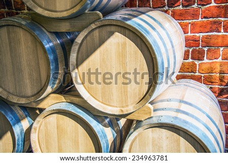 oak barrel for storage of wine - stock photo