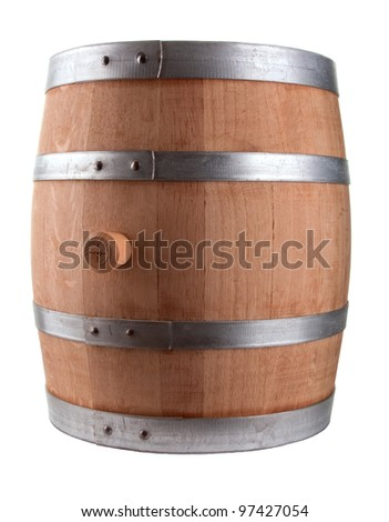 Oak Barrel Isolated On White Background