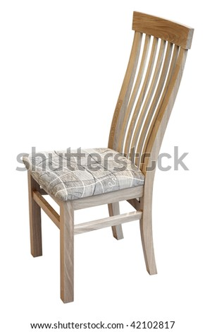 Oak chair with material seat isolated. Clipping path