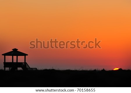 Oak Island Gazebo At Sunset Horizontal With Copy Space - stock photo