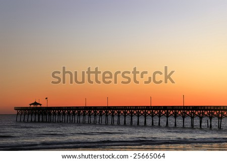 Oak Island Pier, North Carolina, at Sunset Horizontal With Copy Space