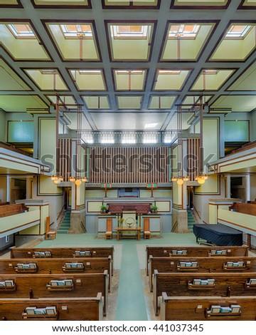 OAK PARK, ILLINOIS - JUNE 15, 2016: Interior of the Unity Temple designed by Frank Lloyd Wright on June 15, 2016 in Oak Park, Illinois - stock photo
