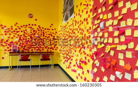 OAK PARK, ILLINOIS - OCTOBER 25: The Idea Box room with colorful Post It Notes on the walls at the Oak Park Public Library on October, 25, 2013 in Oak Park, Illinois - stock photo