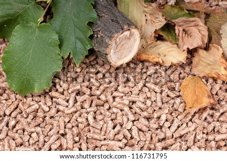 Oak pellets and materials pellets made- selective focus on the front - stock photo