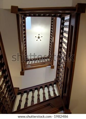 Oak Staircase - stock photo