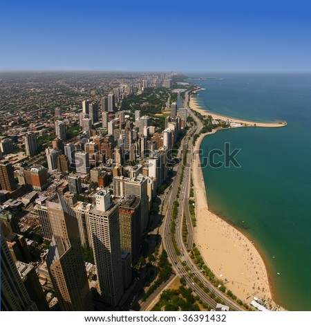 Oak Street Beach, viewed from the Hancock Observatory, Chicago - stock photo