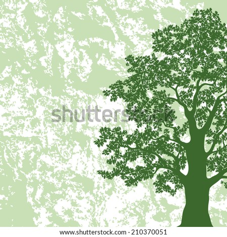Oak tree with leaves silhouette on abstract green and white background. - stock photo
