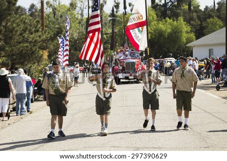 Oak View, California, USA, May 24, 2015, boyscouts honor guard lead Memorial Day Parade - stock photo