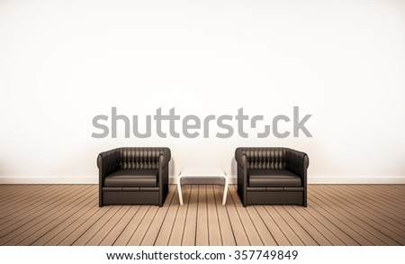 Oak wood floor and white wall, with black leather armchairs, 3d rendered  - stock photo