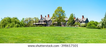 OAKDALE, NEW YORK -MAY 4 - A panoramic view of the Manor House in Bayard Arboretum State Park in Oakdale on May 4 2010 in Long Island. - stock photo
