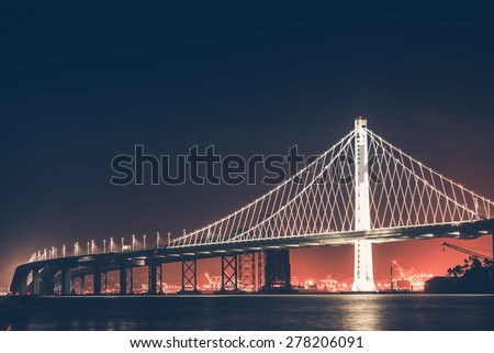 Oakland Bay Bridge at Night. San Francisco - Oakland, California, United States.