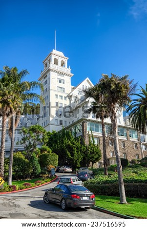 OAKLAND, CA-DEC 12, 2014: Claremont Hotel and Resort, a landmark built in 1915, located at the border of Oakland and Berkeley, with views of San Francisco and the Golden Gate Bridge. - stock photo