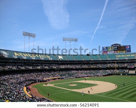 OAKLAND, CA - JUNE 10: Angels 1 vs. As 6: Angels Trevor Bell throwing a pitch to Mark Ellis with whole field in view.  June 10 2010 Oakland coliseum California - stock photo