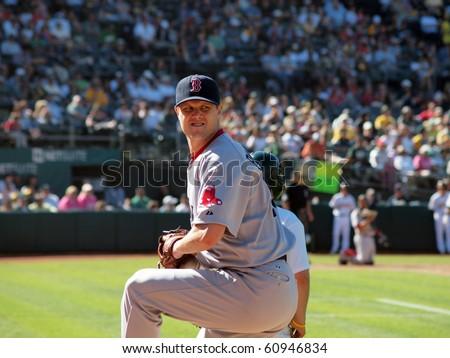 OAKLAND, CA - SEPTEMBER 12: Red Sox vs. A's: Red Sox closer Jonathan Papelbon warms up in bullpen.  September 12, 2010 Coliseum Oakland California - stock photo