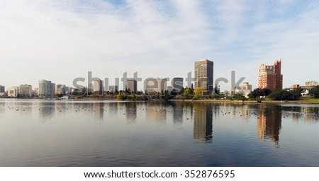 Oakland California Afternoon Downtown City Skyline Lake Merritt - stock photo