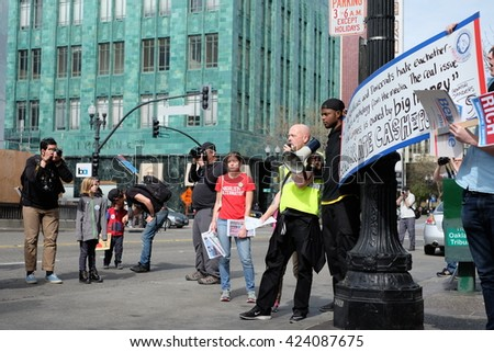 OAKLAND, CALIFORNIA - February 27: Activists rally to support Bernie Sanders in Oakland, California on February, 27 2016