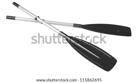 Oars isolated at white background. 3d render illustration - stock photo