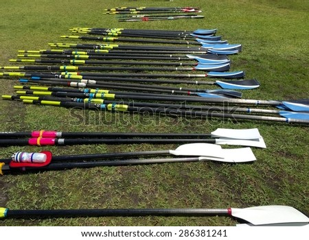 Oars ready for action - stock photo