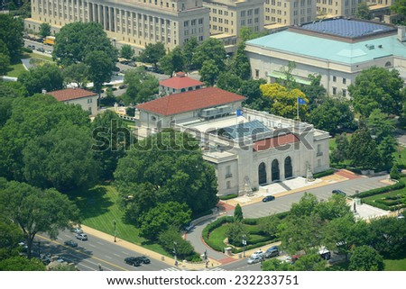 OAS (Organization of American States) Building Aerial View from the top of Washington Monument, Washington DC, USA - stock photo