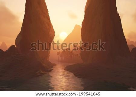 oasis at sunrise - stock photo