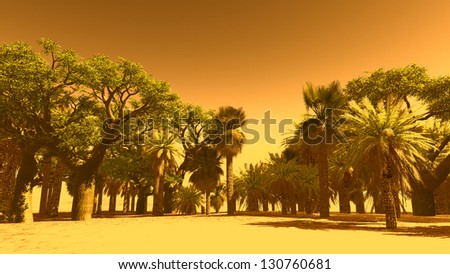 Oasis at sunset with   palm trees - stock photo