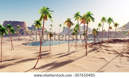 Oasis in the desert Computer generated 3D illustration - stock photo