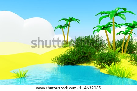 Oasis in the desert landscape with a blue pond - stock photo
