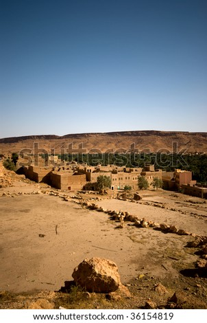 Oasis in the Middle Atlas Mountains, Morocco - stock photo
