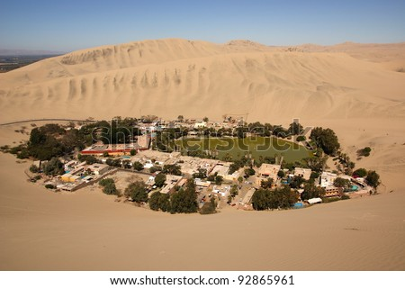 Oasis of Huacachina in Atacama desert,  Peru - stock photo