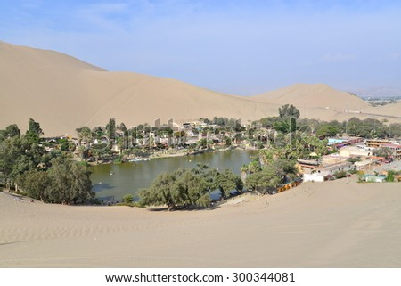Oasis of Huacachina in Peru - stock photo