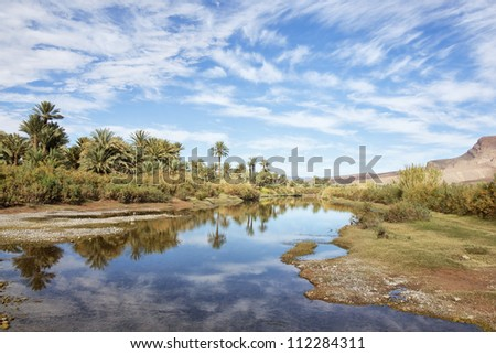 Oasis with date palms at the Draa River with cloudy blue sky reflected in the water, Draa Valley, Morocco. - stock photo