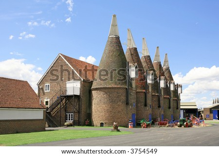 oast houses in Kent. a landmark view for this county in England