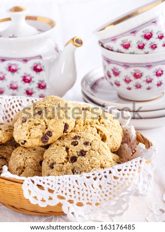 Oat and chocolate chip cookies in a basket - stock photo