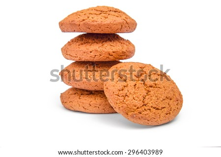 Oat biscuit cookie on white background