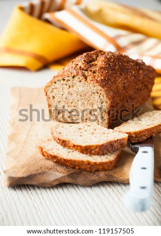 Oat bran bread with spices. soft focus - stock photo