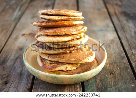 oat bran pancakes - stock photo