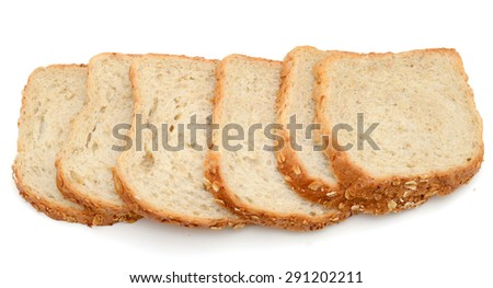 oat bread slices on white background  - stock photo