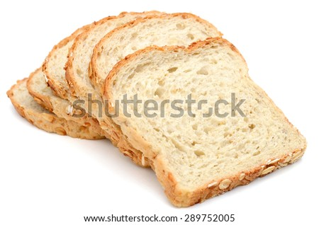 oat bread slices roll up isolated on white  - stock photo
