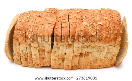 oat bread slices roll up on white background  - stock photo
